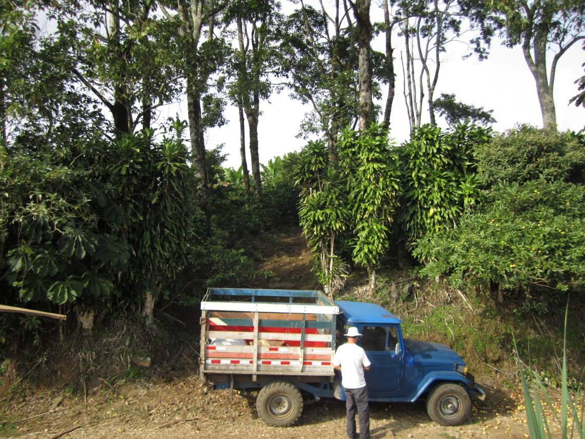 Roberto and his truck, Chola, at the entrance to his property