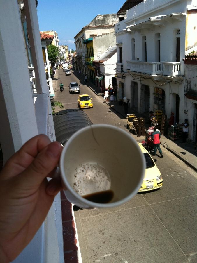 Coffee on Cartagena's hostel row