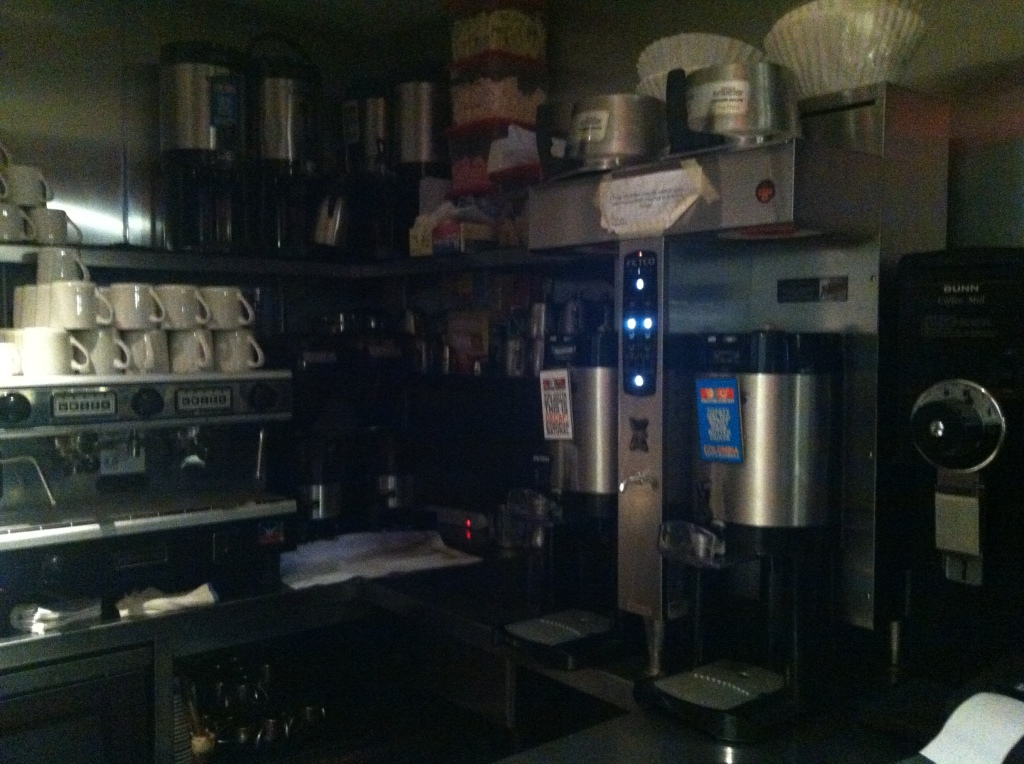 Landmarc's coffee station. Note the Santa Barbara label on the server.