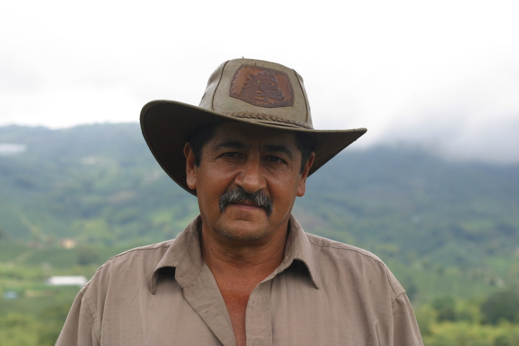 Aldemar on the farm he manages in Chuscal, Chinchina, Colombia