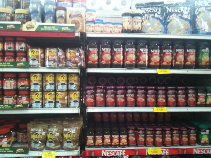 Just part of the instant coffee aisle in Chinchiná, Colombia