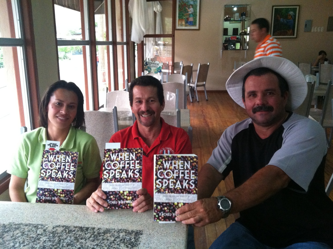 Susy, Daniel, and Miguel at Coopedota's Los Privilegio's cafe