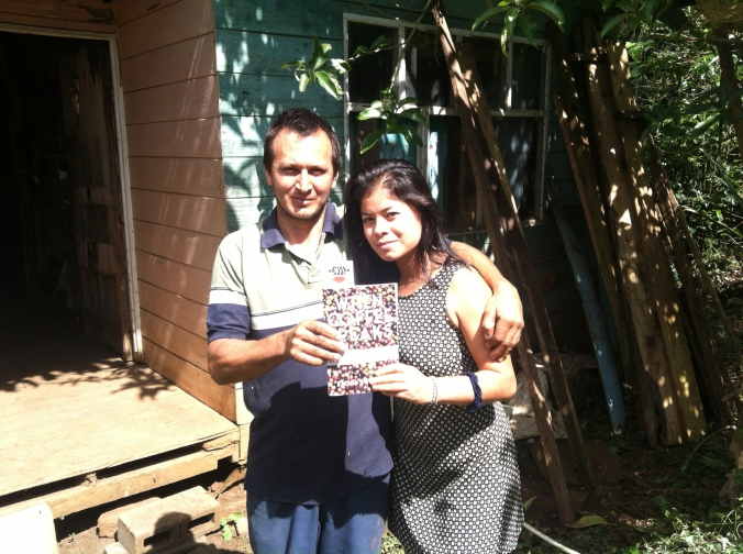 Minor and his wife Lucidia outside their home in San Marcos