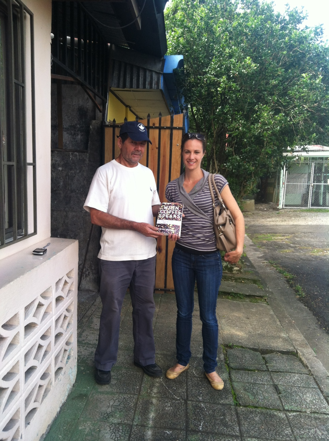 With Roberto outside his home and artisan roasting operation in Turrialba