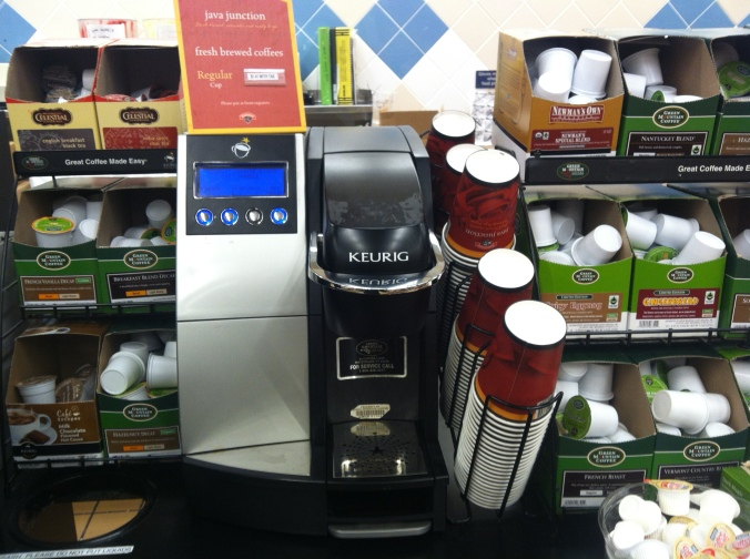 Single serve system at the bakery counter in a chain grocery store.