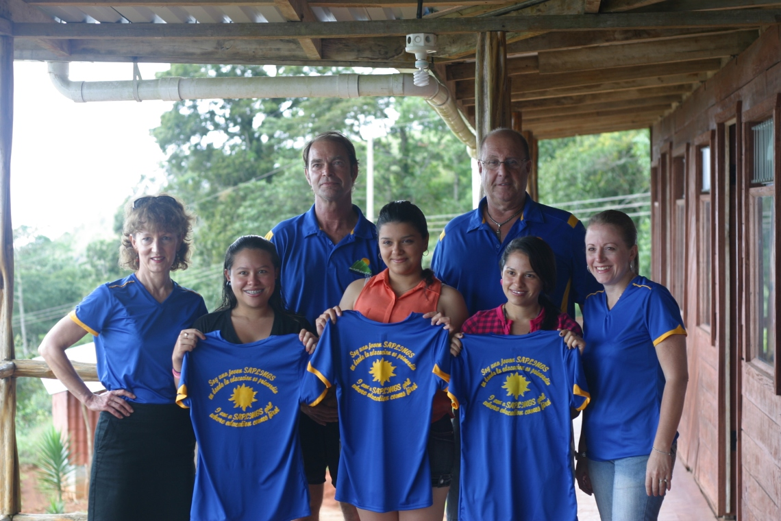 Saplings board members and scholarship recipients in La Potenciana, Costa Rica
