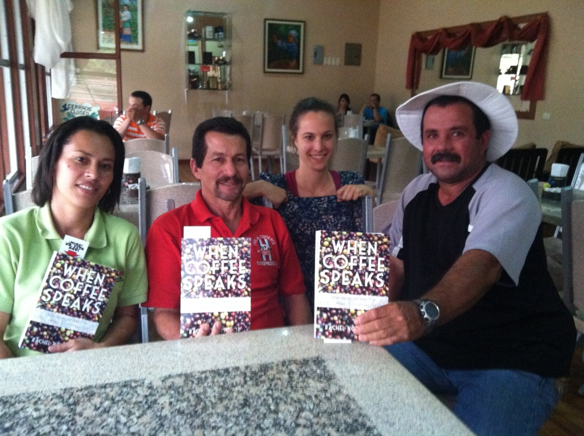 Susy (p. 165), Daniel, Rachel, and Miguel (p. 151) at Coopedota in Santa Maria, Costa Rica