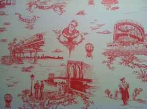 The bathroom wallpaper reps yesterday's pre artisan food movement Brooklyn.