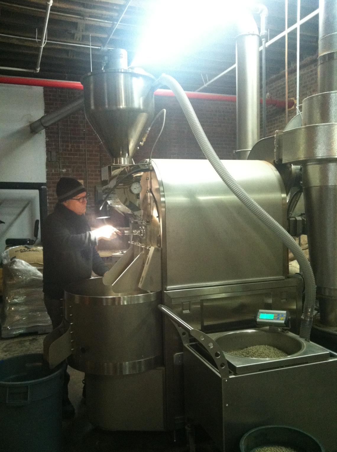 Chris Caulkins roasting for Prodigy Coffee under Gotham Roasters