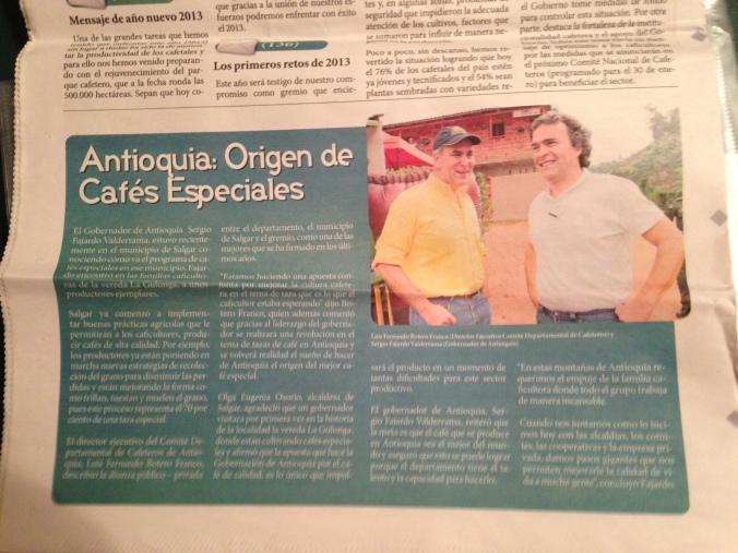 """Fajardo, en una página de  """"Cafe Paisa,"""" el periodico del Comité de Cafeteros de Antioquia"""