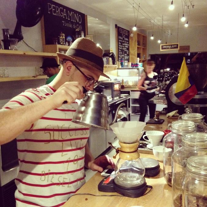 Julian preparing the same coffee, just in Medellin at Cafe Pergamino. Coffee mind warp. #smallworld