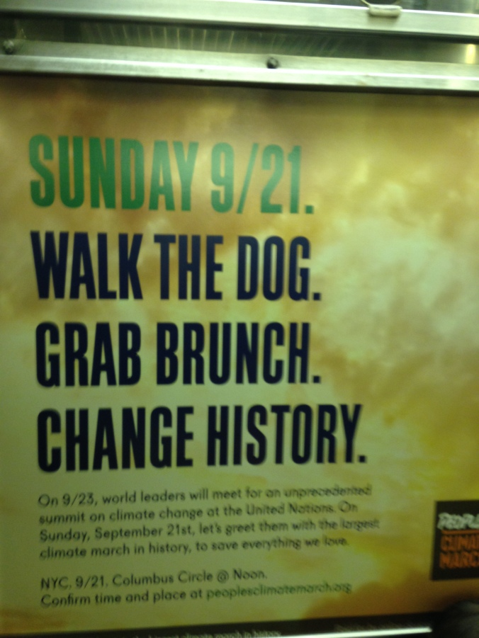 People's Climate March ad in Subway