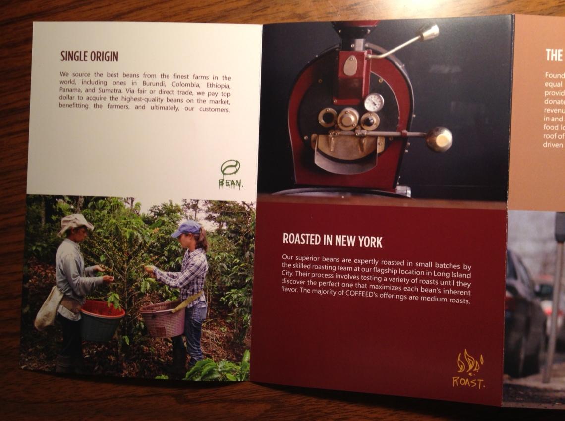 Foto de mi primer dia cosechando cafe con Sonia en Turrialba, Costa Rica en Octubre del 2012 sale en el brochure de Coffeed. Diseño: Kris Arnold
