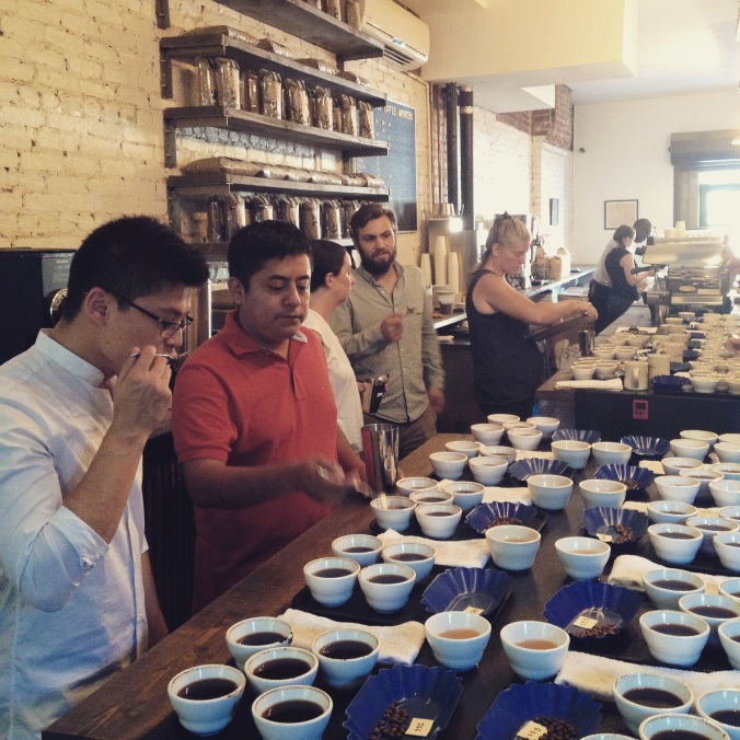 Jorge cupping with Israel of Axiom at Crop to Cup Importers.