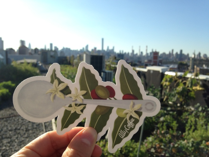 Ally speciality division cupping spoon/branch on the roof at Brooklyn Grange